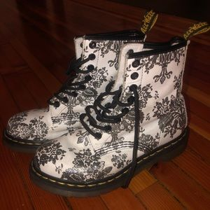 White dr. Marten with silver floral design